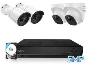Reolink 5MP Überwachungskamera,PoE IP Kamera und 4K 2TB HDD NVR , IP66, 30 Meter IR Nachtsicht mit Audio, RLK8-520B2D2-5MP