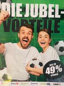Post Fußball-Gutscheinblatt mit Emma Matratze, Flixbus, posterXXL, Eismann, Home24, shop apotheke, eterna, EMP,mymüsli und vielen mehr