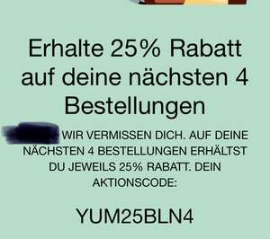 4 x 25% Rabatt -> Uber Eats - Lokal Berlin
