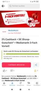 [Mediamarkt +Shoop] 2% Cashback + 5€ Shoop Gutschein (ab 99€ MBW)