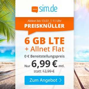 6GB LTE sim.de Tarif für mtl. 6,99€ mit Allnet-Flat & SMS-Flat, VoLTE & WLAN Call im Telefonica-Netz (mtl. kündbar)