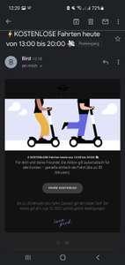 KOSTENLOSE Fahrten heute von 13:00 bis 20:00 Bird E- scooter