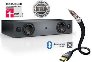Nubert nuBox AS-225 Soundbar + 5 Jahre Garantie & 1.5m HDMI-Kabel (4x 25W RMS, HDMI-ARC, Cinch, Toslink, S/PDIF, Sub-Out, BT 4.2 aptX)