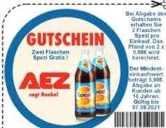 AEZ Gutschein 2 Flaschen Spezi kostenlos