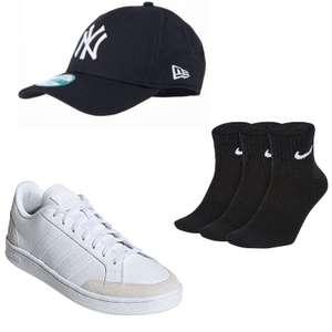 """adidas Sneaker """"Grand Court"""" aus Leder in Weiß-Beige + New Era 9FORTY MLB Basic New York Yankees Cap + Nike Sneaker Socken im 3er-Pack"""