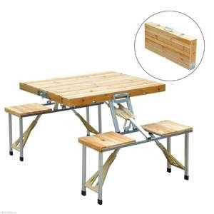 Outsunny® zusammenklappbarer Holz Campingtisch mit 4 Sitzen (mit Newsletter Gutschein 49,50€) - auch blau aus Kunststoff vorrätig (40,70€)