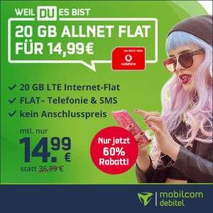 [Mobilcom-Debitel / Vodafone-Netz] 20GB (50 Mbit/s) für mtl. 14,99€ / 40GB (100 Mbit/s) für mtl. 22,99€ VoLTE, WLAN Call, Allnet & SMS-Flat