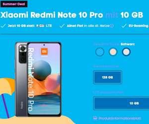 [339,75€ mit cashback] Xiaomi Redmi Note 10 Pro 128GB + 10GB LTE Tarif (15,99€/Monat)