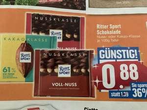 Ritter Sport Schokolade Nussklasse und Kakaoklasse, versch. Sorten, je 100g für 0,88 €, Edeka Süd