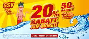 20% Rabatt auf Möbel! 50% Rabatt auf frei geplante Küchen