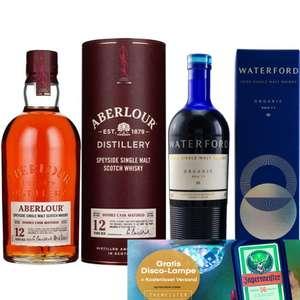Whisky-Übersicht #98: z.B. Aberlour 12 Double Cask Matured 1l für 41,35€, Waterford Gaia Edition 1.1 für 61,45€ inkl. Versand + Disco-Lampe