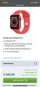 Apple Watch Series 6 Sport 44mm Rot (Silikon Sportarmband Rot)