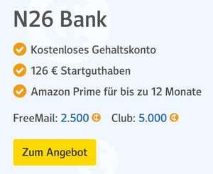 Bis 176€ für kostenloses Gehaltskonto bei N26 über WEB.DE & GMX