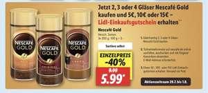 Lidl Nescafe Aktion - 2, 3 oder 4 Gläser Nescafé Gold kaufen und 5€, 10€ oder 15€ – Lidl-Einkaufsgutschein erhalten 29.07-01.08