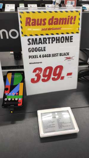 [Lokal] Google Pixel 4, Just Black, 5,7Zoll,Full HD, 16MP,6GBRAM,64GBinterner Speicher, Android 11, 2.800mAh