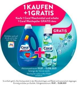 Kaufe 1 Coral Waschmittel und erhalte 1 Coral Weichspüler GRATIS dazu bei [DM]