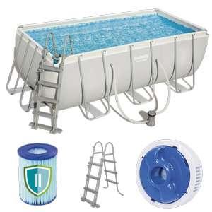 Bestway 56456 Frame Pool Steel 412x201x122 cm mit Filterpumpe Leiter Zubehör
