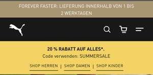 20% Rabatt auf viele Puma-Artikel