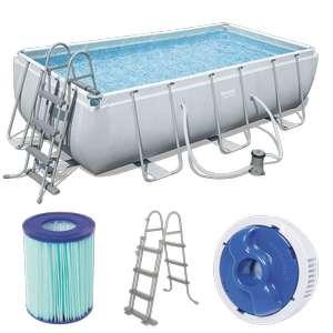 Bestway 56441 Frame Pool mit Filterpumpe Leiter Swimmingpool Set 404x201x100cm