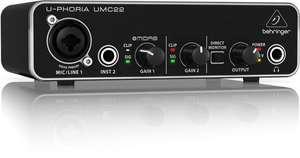 [Thomann/Amazon] Behringer U-Phoria UMC22 2-Kanal USB Audiointerface mit Mikrofonvorverstärker (48V Phantomspeisung)
