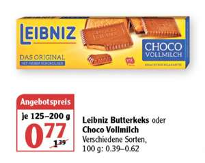 Leibniz Butter Keks oder Choco Vollmilch je 125-200 g verschiedene Sorten ab 26.07 Globus