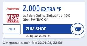 Mediamarkt 2000 Extra Payback Punkte [Personalisiert] ab einem Einkauf von 40€ über Payback
