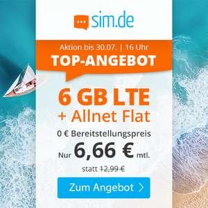 6GB LTE sim.de Tarif für mtl. 6,66€ mit Allnet- & SMS-Flat, VoLTE, WLAN Call [Telefonica-Netz, 3 Monate Kündigungsfrist]