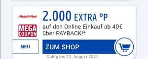 Mega Coupons - 2.000 extra Punkte ab 40€ MBW bei Lieferando & Otto & Media Markt & Tchibo [Payback - personalisiert]