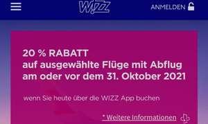 Wizzair 20% Rabatt auf ausgewählte Flüge mit Abflug vor dem 31.10.2021