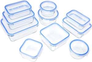 (Prime) Amazon Basics Glasbehälter mit Deckel, 20-teilig ( 10 verschieden große Schalen + passenden Deckel)