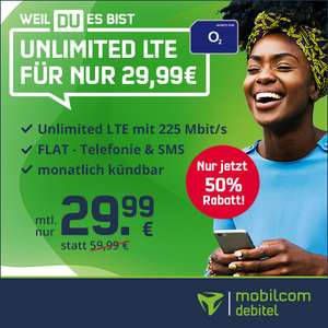[mtl. kündbar] o2 Free Unlimited Max mobilcom-debitel (225 Mbit/s) unbegrenzt Datenvolumen mtl. 29,99€ + 9,99€ AG + 4 Monate Deezer Premium