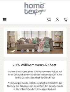 [hometex-shop] 20% Willkommensrabatt auf Heimtextilien und Dekoration