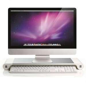 Aluminium Monitorständer mit 4x USB-Ladeanschlüssen insbes. für iMac, max 15kg. belastbar, 55x16,8x5cm