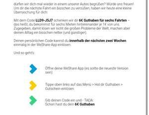 WeShare 6x 1 € Nachlass (personalisiert)