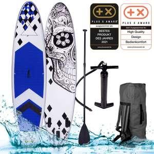 BRAST SUP Paddle Board aufblasbar CANDY SKULL 320, 3 Finnen, 130Kg, 320x76x15 cm, Pumpe, Alu-Teleskoppaddel / + Andere SUP Boards