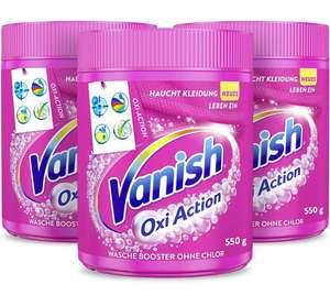 3 x 550g Vanish Oxi Action Pulver Pink – Fleckentferner Pulver ohne Chlor – Entfernt Flecken, pflegt Farben & entfernt Gerüche