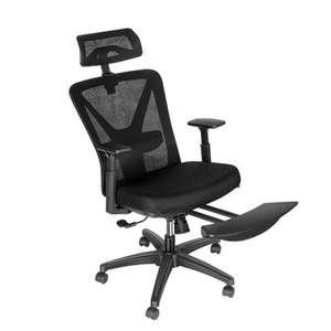 BlitzWolf BW-HOC6 Ergonomischer Bürostuhl mit Mesh Netzdesign, einziehbare Fußstütze, Verstellbare Kopfstütze & Lendenwirbelstütze, Schaukel