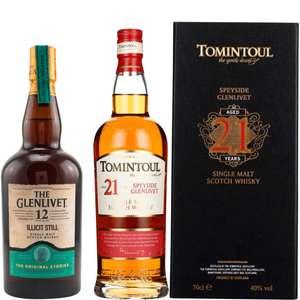 Whisky-Übersicht #100: z.B. The Glenlivet 12 Illicit Still für 38,90€, Tomintoul 21 Jahre Single Malt Scotch Whisky für 98,45€ inkl. Versand