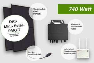 Balkonkraftwerk selfPV 740W Mono inkl. Microwechselrichter (YC600) 488,99€ bei Selbstabholung in NRW Mettmann, 370Watt für 276,44€