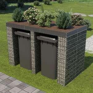 Gabionenwand für Mülltonne Verzinkter Stahl 190x100x130 cm