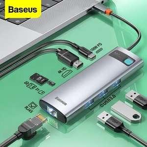 Baseus 8-in-1 USB-C Hub Docking Station Adapter mit 100W PD Power / 4K@30HZ / Versand aus der EU