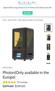 Anycubic Photon, Photon S, Photon Zero LCD/DLP/SLA Drucker