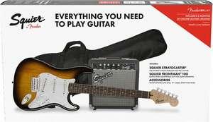 Fender Squier Stratocaster Affinity Pack IL, E-Gitarren-Set inkl. Fender Frontman Verstärker, Gurt, Kabel, Plektren und Tasche [Muziker]