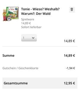 13% auf Tonies und andere Spielwaren @Hugendubel