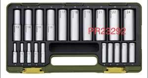 """Proxxon PR23292 Tiefbett-Steckschlüsselsatz, 1/4"""" + 1/2"""", 20-teilig"""