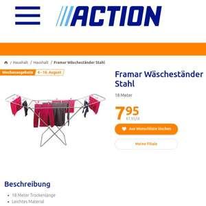Framar Wäscheständer mit 12% TPG bei Bauhaus statt Action