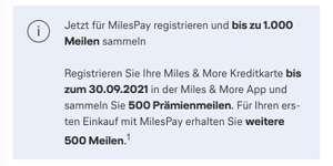 500 Miles&More Meilen bei der Anmeldung zu MilesPay