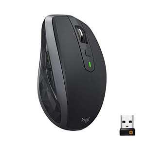 Logitech MX Anywhere 2S Kabellose Maus (Bluetooth und 2.4 GHz, 4000 DPI Sensor, Wiederaufladbar, Multi-Device, 7 Tasten) - Graphit/Schwarz