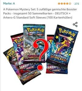 Pokemon 5 Mystery Booster +100 Kartensleeves bei Amazon
