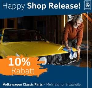 Volkswagen Classic Parts. Mit dem Rabattcode erhalten Sie vom 27. Juli bis 18. August 2021 10% auf (fast) alle Produkte im Shop